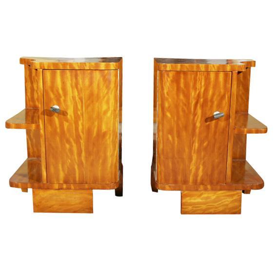 Art Deco Burl Wood Nightstands - A Pair - Image 1 of 8