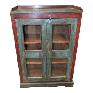 Vintage Wooden Cabinet W/ Glass For Sale