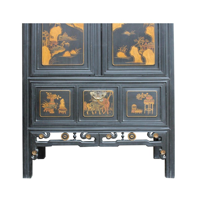 2000 - 2009 Chinese Fujian Golden Mountian Water Graphic Tall Armoire Cabinet For Sale - Image 5 of 10