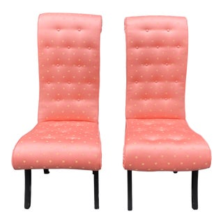 Mid Century Hollywood Regency Scroll Back Chairs W Scalamandre Fabric - a Pair For Sale