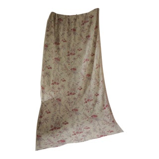 1930s Antique French Pink Purple & Red Faded Floral Printed Linen Curtain Drape For Sale