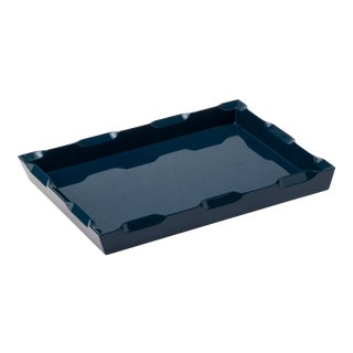 Small Denston Tray in Indigo Blue - Veere Grenney for The Lacquer Company For Sale