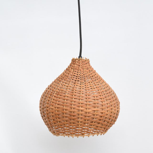 1960s Wicker Lampshade Ceiling Lamp, Denmark For Sale - Image 9 of 11