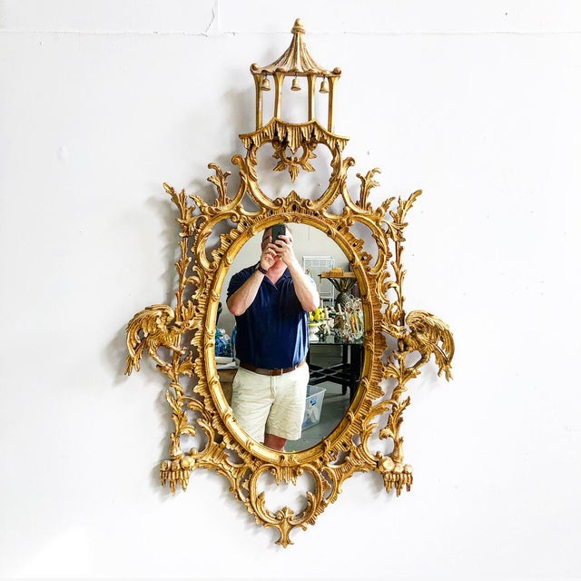 Vintage LaBarge Oval Pagoda Wooden Carved Chinoiserie Gold Gilded Mirror For Sale - Image 13 of 13