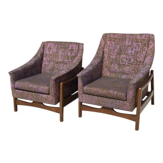 1968 Mid Century Modern Paoli His Hers Purple Upholstered Rocking Chairs - a Pair