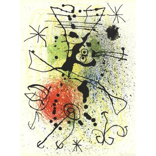 Joan Miro, Line and Splatter Composition, Lithograph For Sale