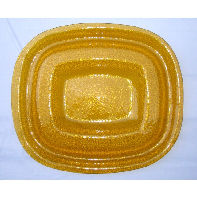 Art Deco Amber Yellow Glass Server Tray - Image 4 of 8