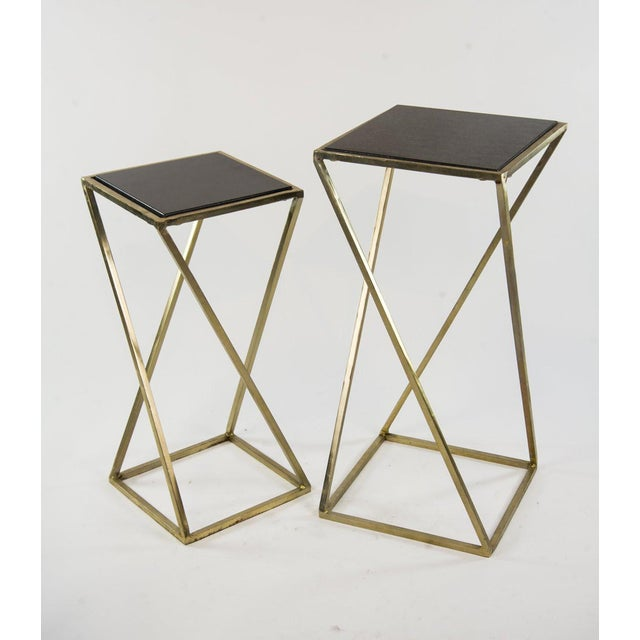 Modern Gold Steel & Black Granite Accent X Frame Tables - A Pair - Image 11 of 11