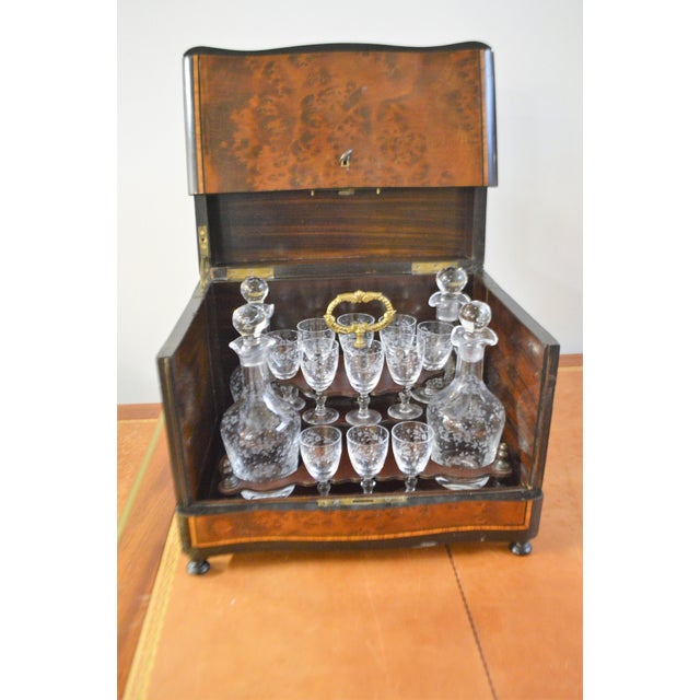 19th Century Portable Bar With the Origianal Etched Crystals Decanters and 14 Sherry Glasses Sitting in a Rosewood Box. For Sale - Image 11 of 11