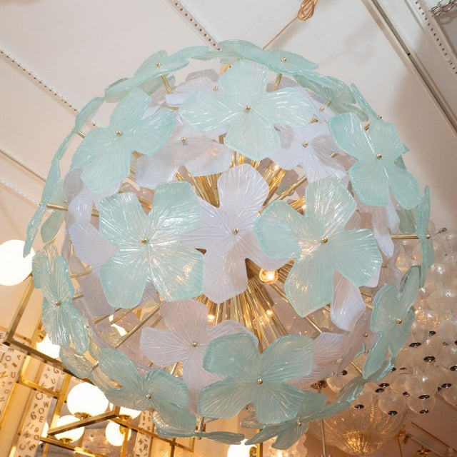 Mid-Century Modern Spherical Pale Green Flower Form Chandelier For Sale - Image 3 of 5
