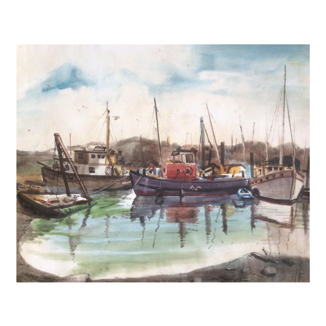 Fishing Boats Watercolor For Sale