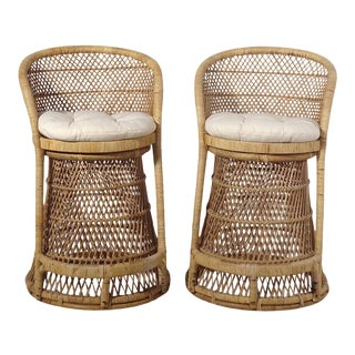 Woven Rattan Wicker Barstools - a Pair For Sale