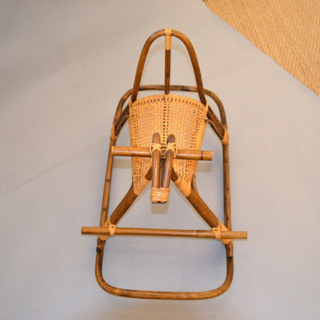 1960s 1960s Rattan and Bamboo Rocking Horse Sculpture Inspired by Franco Albini For Sale - Image 5 of 13