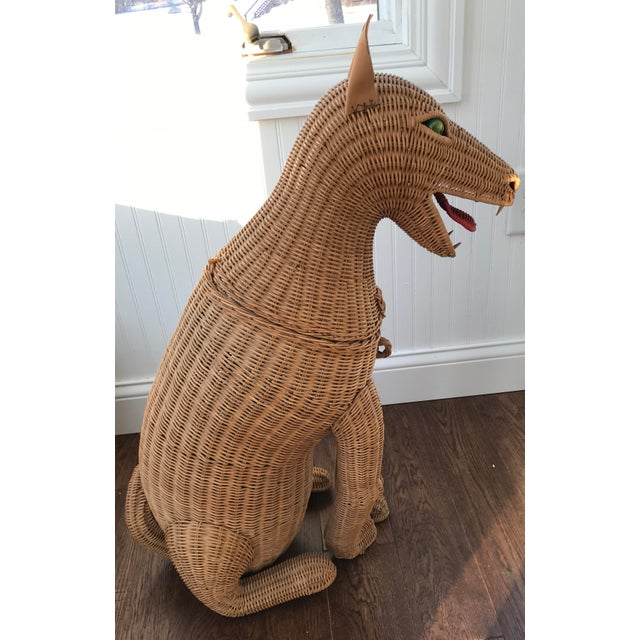 Wicker 1950s Vintage Woven Wicker Dog Basket Glass Marble Eyes For Sale - Image 7 of 7