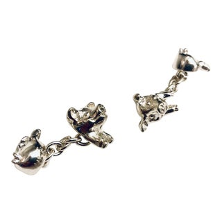 English Sterling Silver Pig Cuff Links For Sale