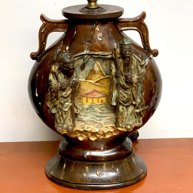 Brown Fantoni Chinoiserie Pottery Lamp For Sale - Image 8 of 11