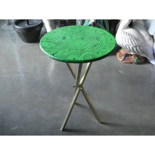 1960s 1960s Mid Century Faux Malachite Fornasetti Side Table For Sale - Image 5 of 10