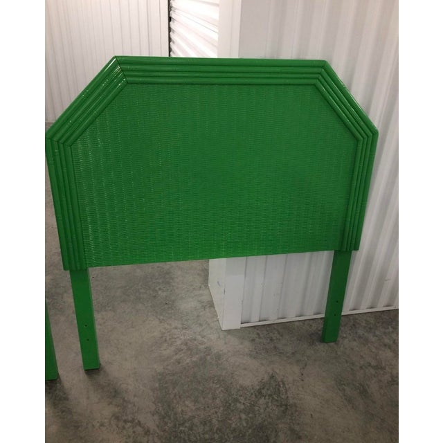 Asian Lacquered Kelly Green Faux Bamboo Twin Headboards - a Pair For Sale - Image 3 of 5