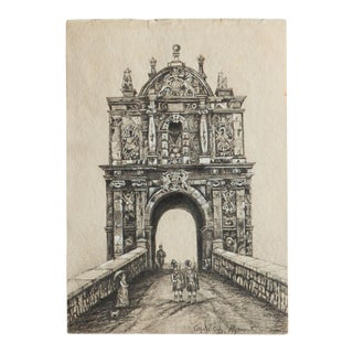 Antique Gate at Citadel Plymouth Drawing For Sale