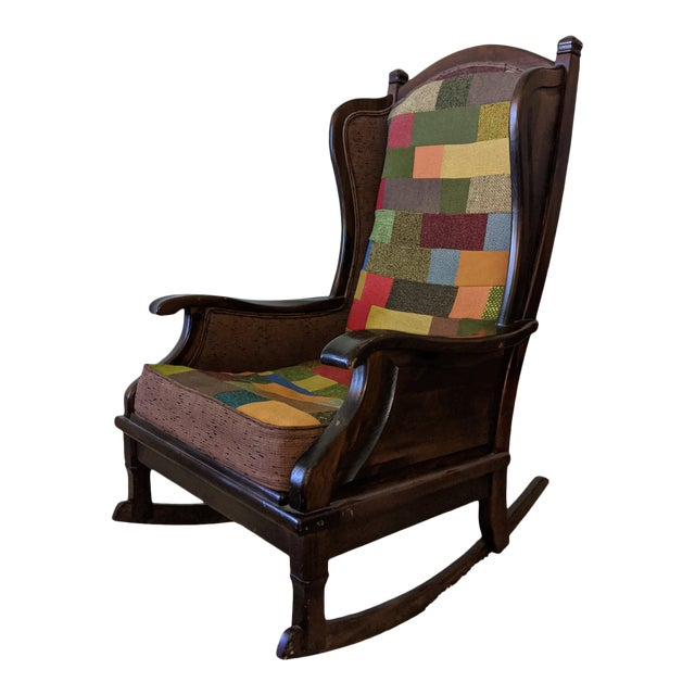 Maxwell Royal Chair Company Upholstered Wingback Rocker For Sale