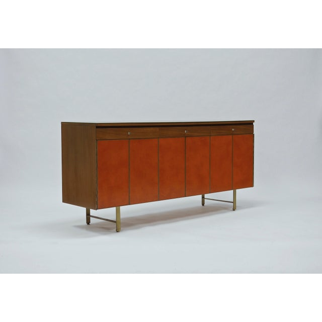 Credenza in Orange leather and Mahogany by Paul McCobb for Calvin For Sale - Image 11 of 11