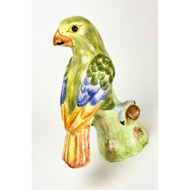 "This is a gorgeous vintage pair of Italian hand painted ceramic green parrots by Chelsea House. They measure 10"" x 8"" w...."