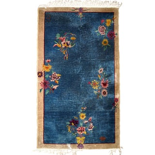 1920s, Handmade Antique Art Deco Chinese Rug 4.1' X 6.10' For Sale