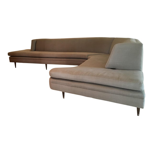 Mid-Century Linen Upholstered Two Piece Setional Sofa - Image 1 of 9