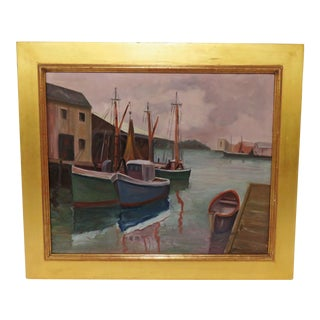 Rockport School Harbor Scene Oil Painting D. 1966 For Sale