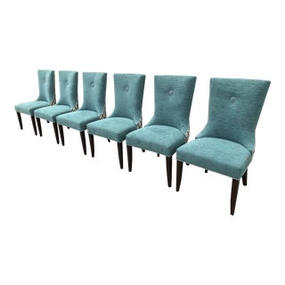 Contemporary Custom Fully Upholstered Teal Dining Chairs - Set of 6 For Sale