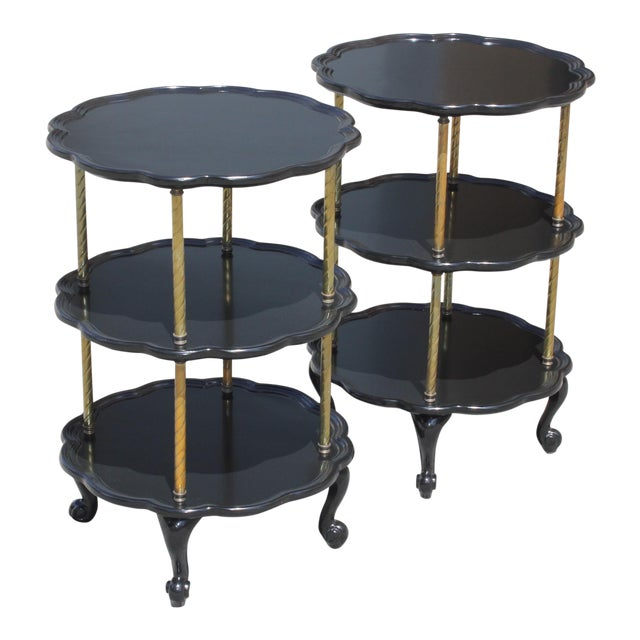 Beautiful Pair of French Louis XV Ebonized Side Table Circa 1910s. For Sale