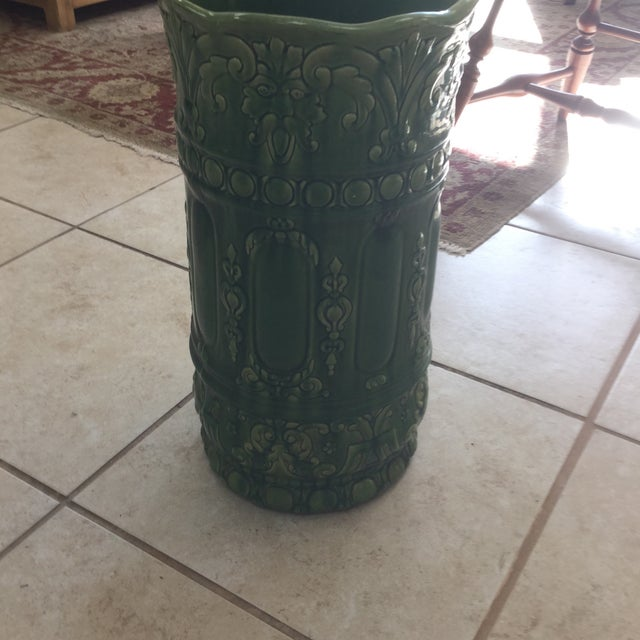 Traditional Green Majolica Umbrella Stand For Sale - Image 3 of 8