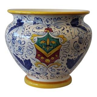 Vintage Sberna Deruta Italian Ceramic Cache Pot For Sale