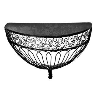 1990s Belle Epoque Style Demilune Metal and Wire Birdcage Inspired Wall Shelf Bracket Preview