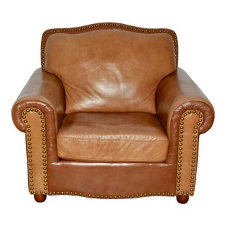 Leather and Nailhead Single Oversized Club Chair For Sale