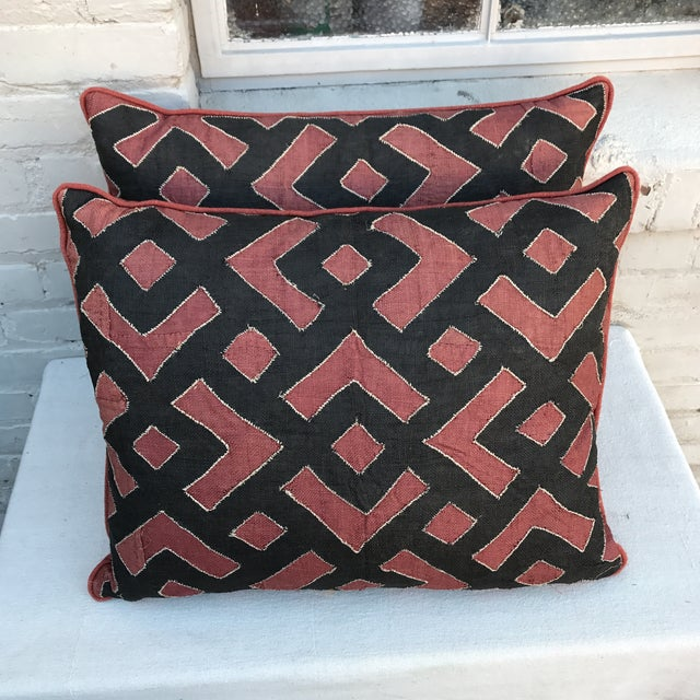 Black & Rust Kuba Cloth Pillows - A Pair For Sale - Image 4 of 6