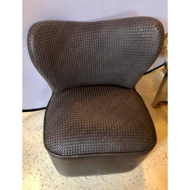 Modern Woven Charcoal Grey Leather Seat and Backrest Side Chairs - a Pair For Sale - Image 4 of 9