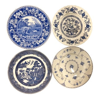 English Blue and White and Mismatched Dinner Plates - Set of 4 For Sale