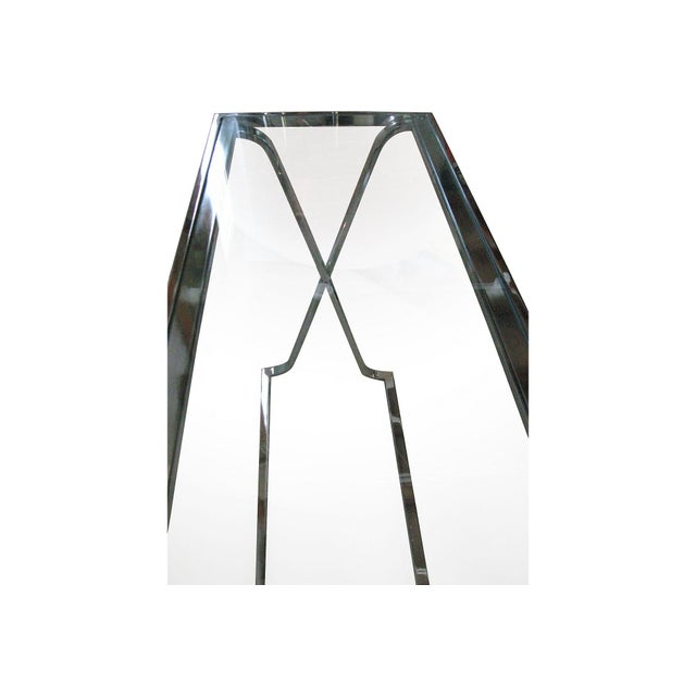X-Base Chrome & Glass Console For Sale - Image 4 of 4