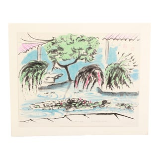 Modernist Asian Pond Watercolor on Paper Painting by Doris M. Carter For Sale