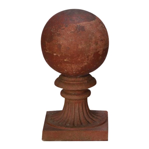1930s Large Round Terra Cotta Finial on Stand For Sale
