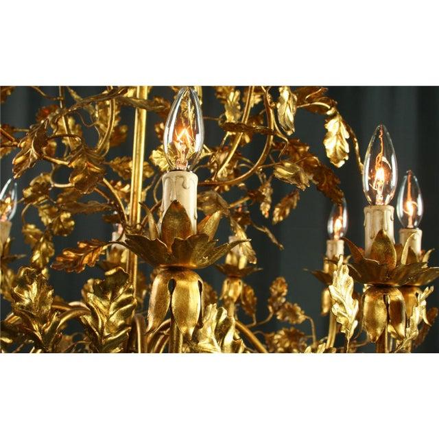 Italian Golden Metal Chandelier For Sale In Columbia, SC - Image 6 of 8