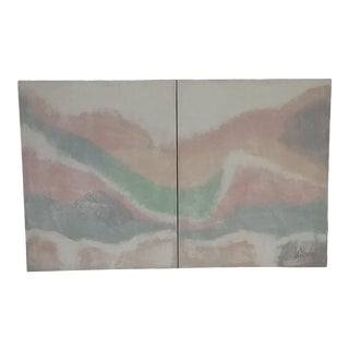 Lee Reynolds Abstract Diptych Painting on Canvas - a Pair For Sale
