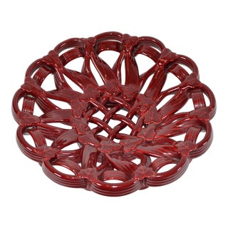 Vallauris France Glazed Ceramic Burgundy Red Woven Bowl Mid-Century Modern Pottery For Sale