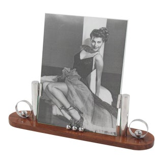 French Art Deco Rosewood and Chrome Picture Frame For Sale