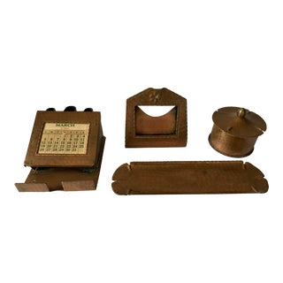 Roycroft Arts & Crafts Copper Desk Set For Sale