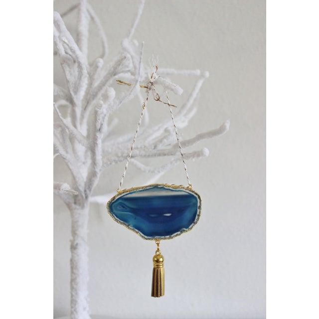 Modern Boho Blue/Cobalt Agate Holiday Ornament - Image 4 of 6