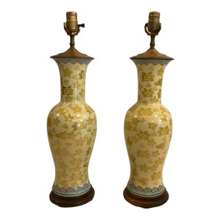 Pair of Yellow Floral Urn Lamps For Sale
