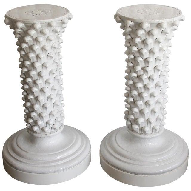 Pair of Italian Ceramic Pedestals Attributed to Fantoni For Sale