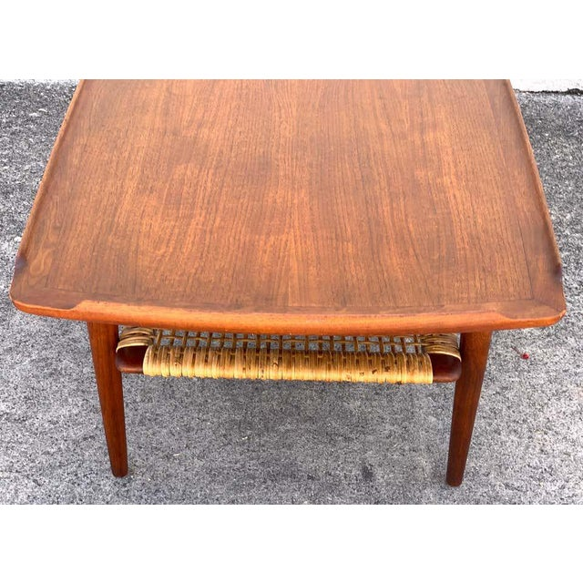 Ib-Kofod Larsen, Two-Tier Teak Surfboard Coffee Table With Caned Shelf For Sale In West Palm - Image 6 of 10
